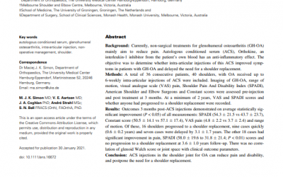 Shoulder injections with autologous conditioned serum reduce pain and disability
